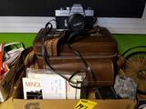 Minolta SRT 201 camera, accessories and case