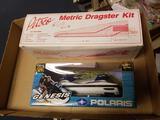 Ertl genesis snowmobile, Pitsco dragster kit in box