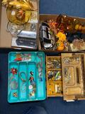 4 boxes costume jewelry, glass jars, radio, fall items