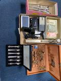 Community Knives, spoons, cuff links, pins, Tom Tom, and miscellaneous items