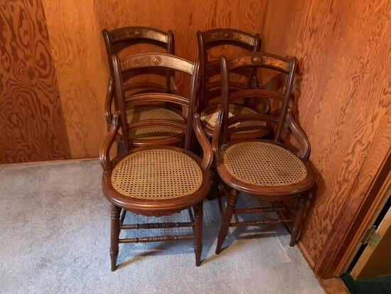 (4) late 1800s Victorian cane bottom Side Chairs