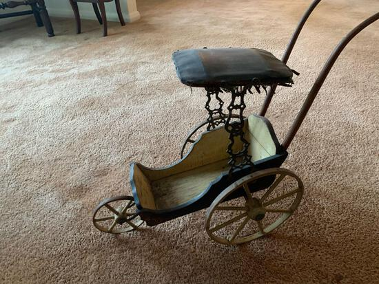 Vintage Doll Carriage W/ Canopy