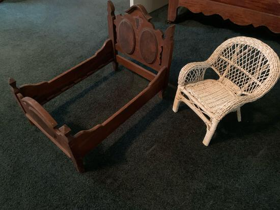 Doll bed frame and wicker chair