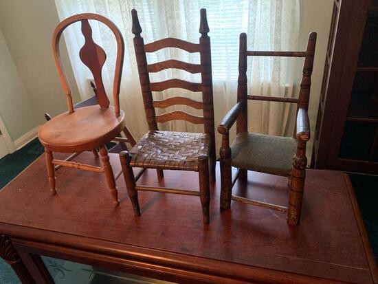 (3) early doll Chairs