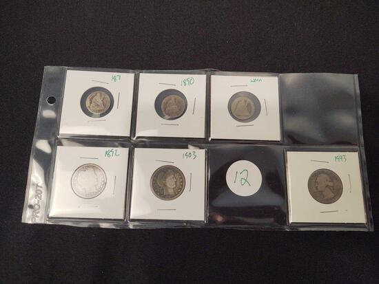 Assorted Silver Coins, Seated Dimes, Barber Quarters, Washington Quarter