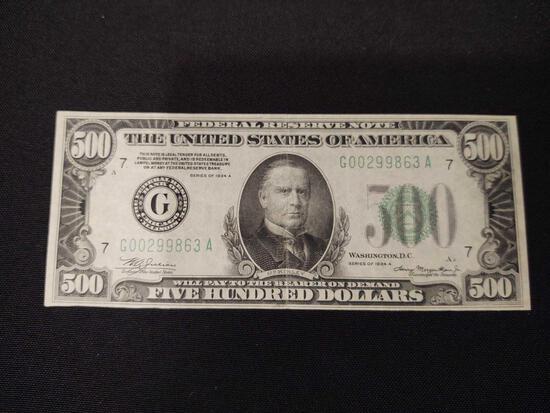 1934 $500 Note Chicago