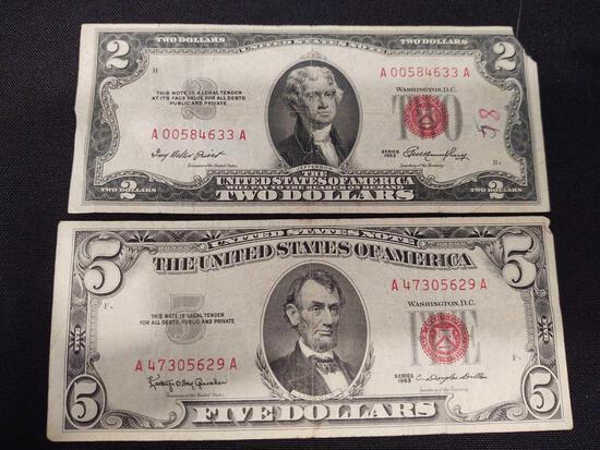 Red Seal Notes, 1953 $2 Dollar & 1963 $5 Dollar