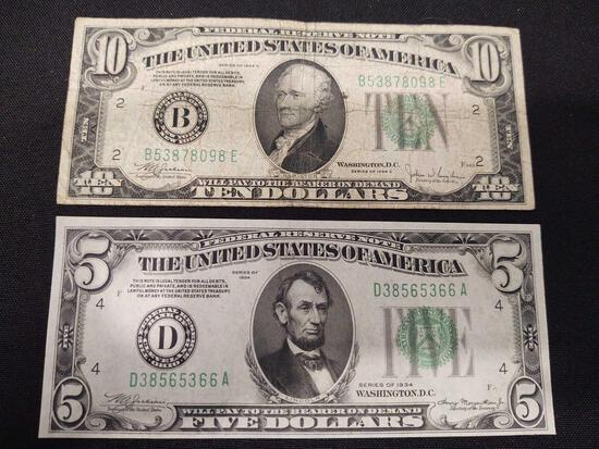 1934 $10 Dollar Note & 1934 $5 Note