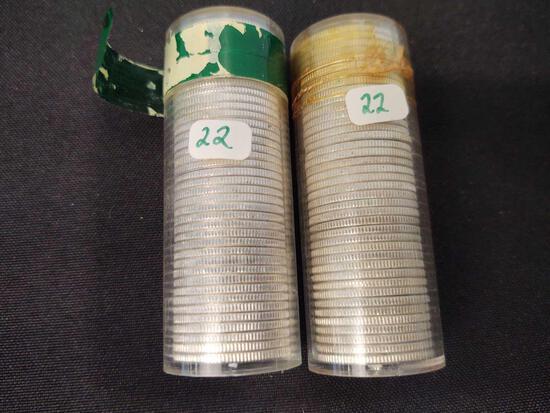 1964 UNC Silver Washington Quarters roll of P & D