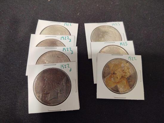 Peace Dollars 1922, '22s, '22s, '22d, '23, '23, '22