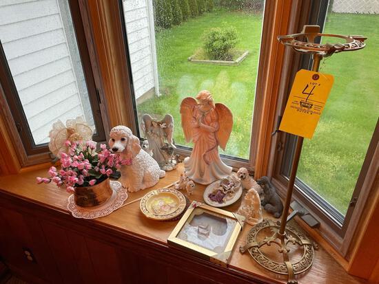Angel figurines-poodle figurines-metal ashtray