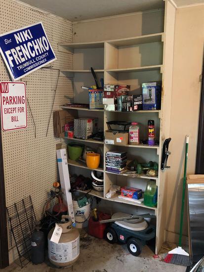 Garden Cart, Tanks, SS Shelf, No Parking Sign, Gardening Items