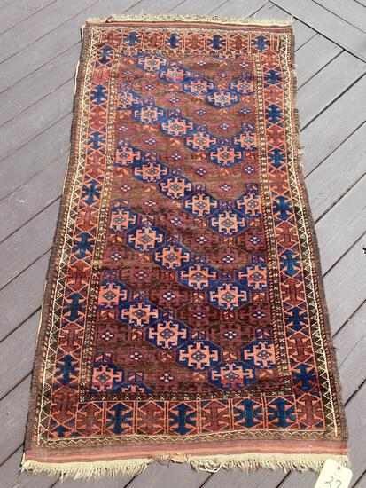 Persian rug, shows wear, 5.7 x 3
