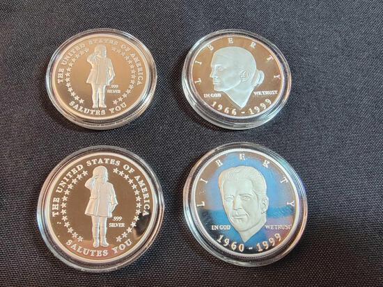 (4) .999 Silver Commemorative Coins