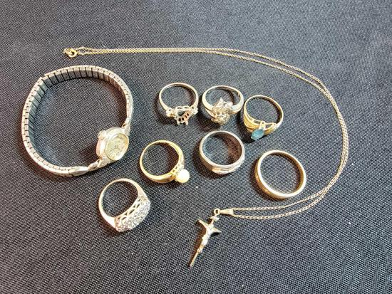 (6) Rings, Watch, and Necklace Marked 14K