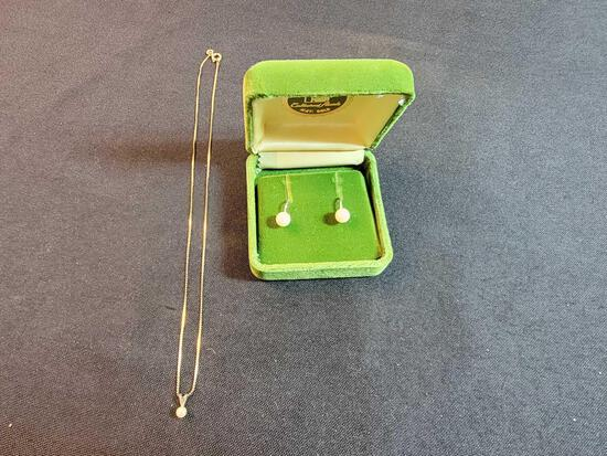 Pearl Earrings and Necklace Marlet 14K