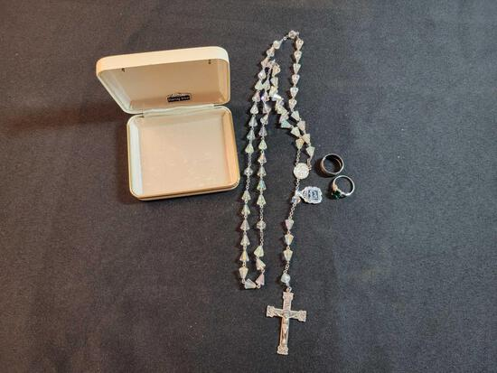 Rosary and (2) Rings Marked Sterling