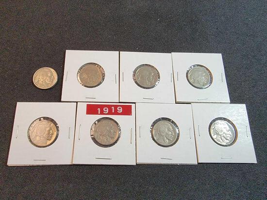 (8) Buffalo Nickels 1919-1937