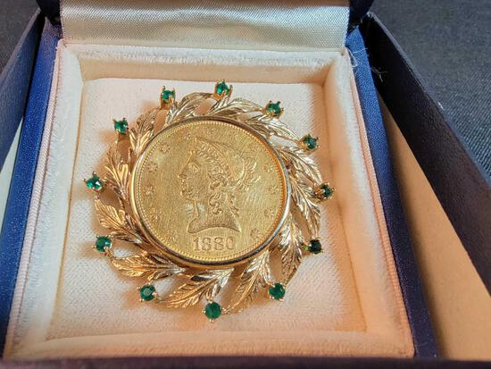 1880 Liberty Head $10 Gold Eagle Coin in Brooch