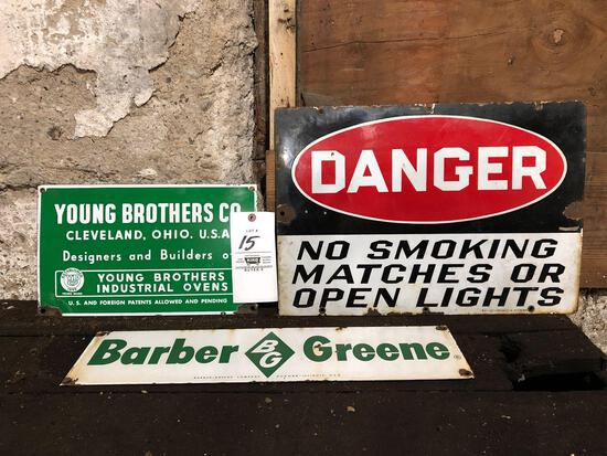 (3) single sided porcelain signs