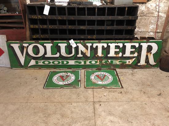 Volunteer Food Stores porcelain sign