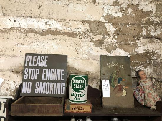 Pure fish crate, signs, Quaker state tin