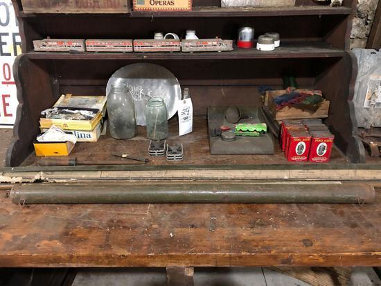 Wooden train, vintage maps, door hw, tobacco tins, jars