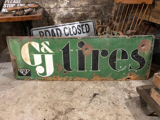 G&J Tires porcelain sign