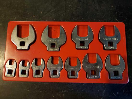 Snap-On crow foot open end wrenches, (11) peice set 3/8 to 1inch