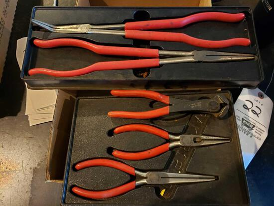 Snap-On long spring loaded needle nose pliers, needle nose pliers, and cutters