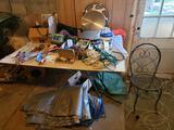 Jig saw, grill accessories, cords, tarps, table, chair, air hose