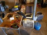 Jumper cables, wire brushes, fan, radio, folding table