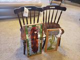 (2) chairs, (2) pc. Framed stained glass