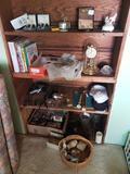 Shelf contents, sterling salt and pepper shakers, anniversary clock, belt buckles