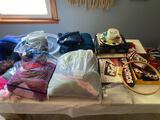Crochet items, large doll, organizer, quilting hoop and more