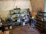 (5) metal shelves and contents