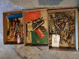 3 bxs. Tap and die, Allen wrenches, screwdrivers