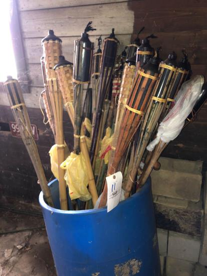 Tiki torches, (3) plant hooks