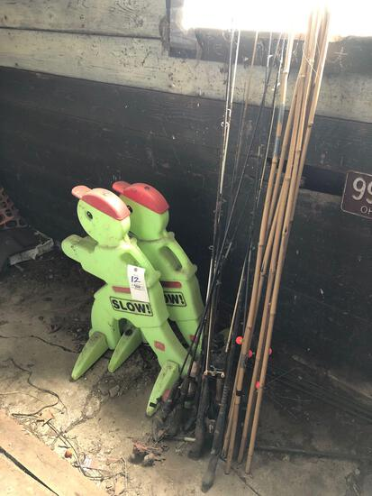 Fishing poles, slow signs