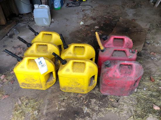 (5) diesel cans, (3) gas cans