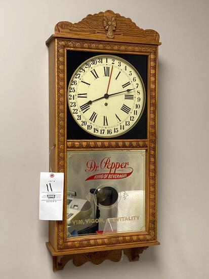 Dr Pepper Saint Charles Clock 8 day regulator calendar clock with original paper