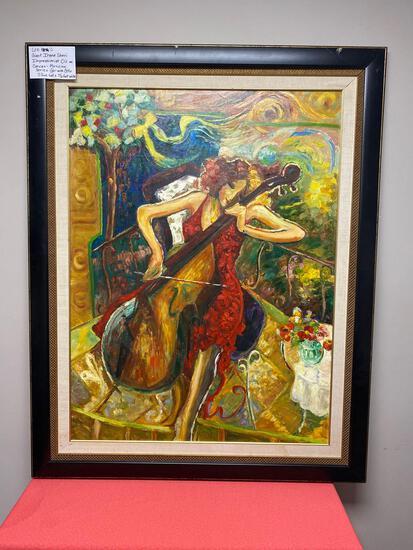 Giant Irene Sheri Impressionist oil on Canvas Musician series