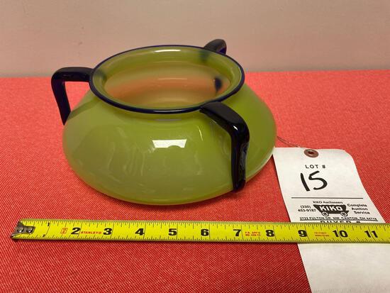Loetz 1930's triple handle bowl
