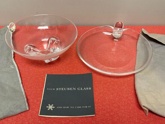 Steuben glass bowl and dish