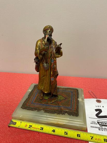 "Franz Bergman Circa 1900 Austrian cold painted bronze ""Arab Arms Dealer"""