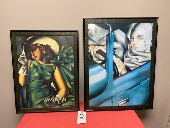 Art Deco framed lithographs T.J.L , T DE Lempicka