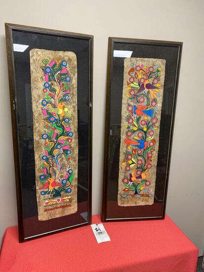 Original folk art on tree bark framed