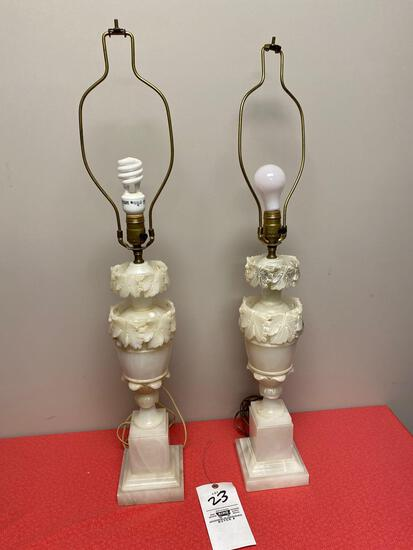 Italian alabaster carved lamps