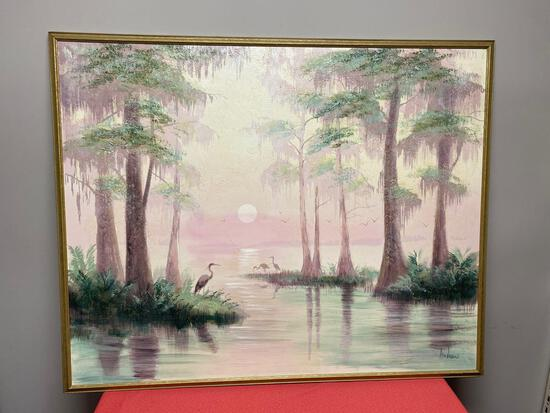 Large Oil on canvas signed Andrews