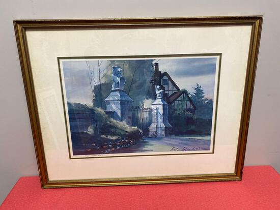 Marc Moon AWS water color print Stan Hywet pencil signed